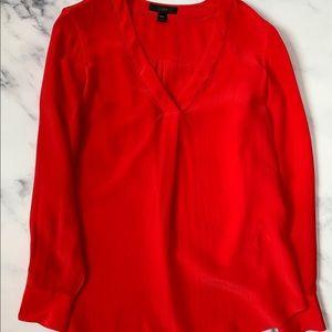 J. Crew Silk V-Neck Long Sleeve Red Blouse